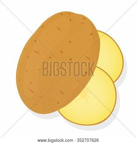 Whole Potatoes And Potato Slices Isolated On White Background. Unpeeled Potatoes Tuber. Vector Illus