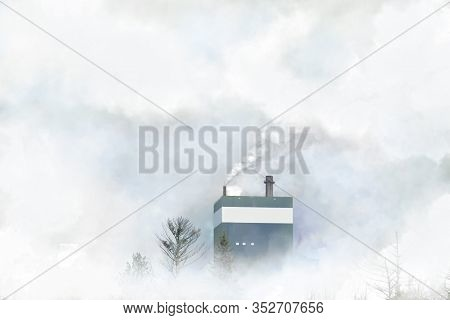 Plumes Of White Smoke Coming Out Of Smokestacks Against Sunny Skies