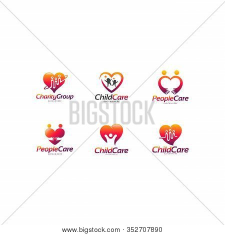 Set Of Charity Group Logo Designs Concept, Child Care Logo, People Care Logo Designs Concept Vector