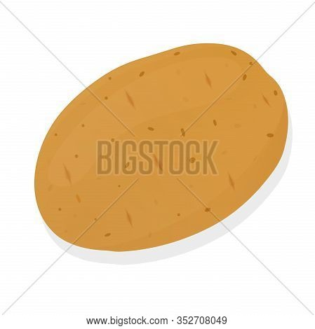Potato Isolated On White Background. Unpeeled Potatoes Tuber. Vector Illustration.