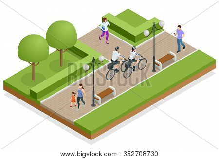 A Female And A Male Police Officer On Bicycle Patrols The Streets. Isometric Policeman Riding A Bicy
