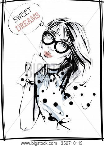 Hand Drawn Beautiful Young Woman In Eyeglasses. Fashion Woman In Spotted Shirt. Girl In Fashion Clot