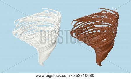 Milk And Chocolate Spinning Into A Storm Shape, Realistic Product Rendering Is A Convenient Way For