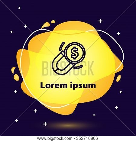 Black Line Magnet With Money Icon Isolated On Blue Background. Concept Of Attracting Investments. Bi