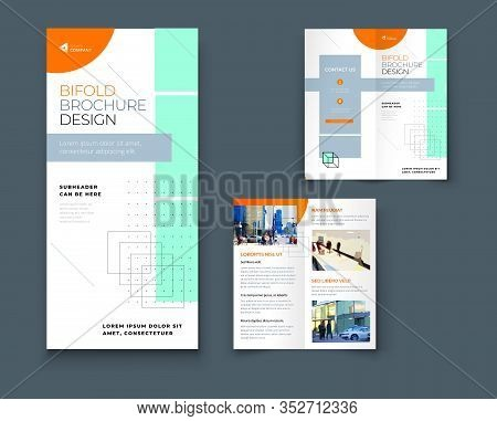Bi Fold Brochure Design With Line Shapes, Corporate Business Template For Bi Fold Flyer. Creative Co