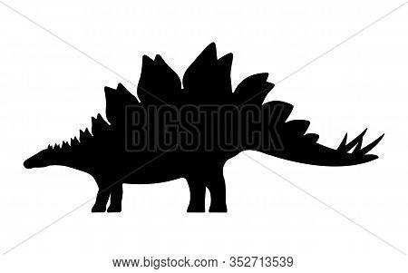 Stegosaurus Silhouette. Vector Illustration Black Silhouette Of A Stegosaurus Dinosaur Isolated On A