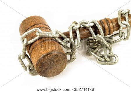An Shot Over White Background Chain Wrapped Wood Gavel For Concepts Related To Law Bindings And Comp