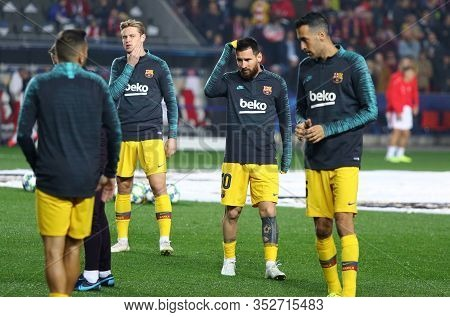 Prague, Czechia - October 23, 2019: Lionel Messi (c) And Other Barcelona Players In Action During Tr