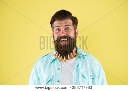 Hairstyle Guideline. Man Lot Clothespin On Beard. Brutal Hipster With Clothespins With Hearts. Love