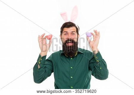 Paschal Eggs. Hipster Hold Easter Eggs. Happy Hipster Celebrate Easter. Bearded Hipster Wear Bunny E