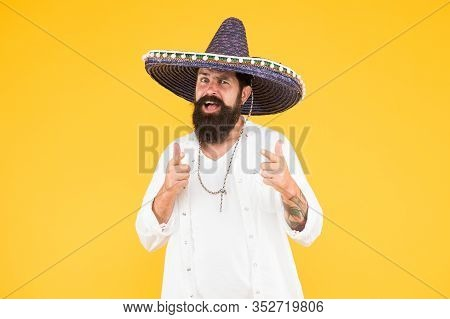 Mexican Hat Sombrero And Mustache. Guy Happy Festive Outfit. His Spanish Costume. Cinco De Mayo Mexi