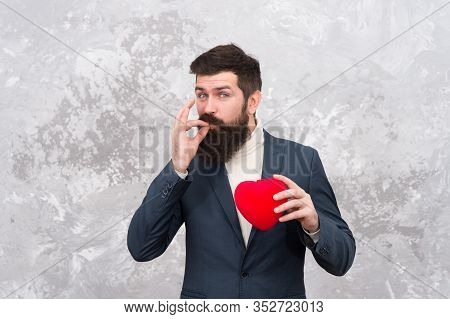 Generous Man. Handsome Confident Man Hold Red Heart. Businessman Formal Outfit Love Symbol Valentine