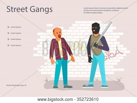 Landing Web Page Template With Crime Concept. Robber In Black Mask With A Baseball Bat Is Threatenin