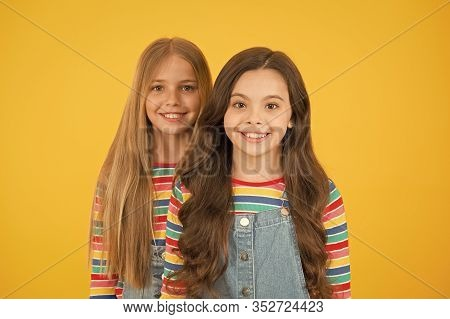 Hair Strengthening. Grow Hair. Hairdresser Salon. Kids Beautiful Friends Or Sisters With Perfect Hai