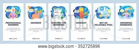 Professional Swimmer Athlete. Water Sport, Swim, Swimming Pool, Heartrate And Time Tracker. Mobile A
