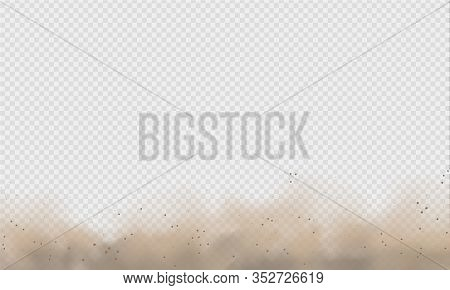 Dust Cloud, Sand Storm, Powder Spray On Transparent Background. Desert Wind With Cloud Of Dust And S
