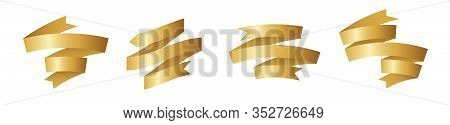 Gold Ribbon For Title, Design Of Promotional Products, Use To Highlight Title Or Promotional Informa