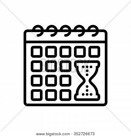 Black Line Icon For Deadline Time-limit  Calender Appointment  Hourglass Management Countdown Extend