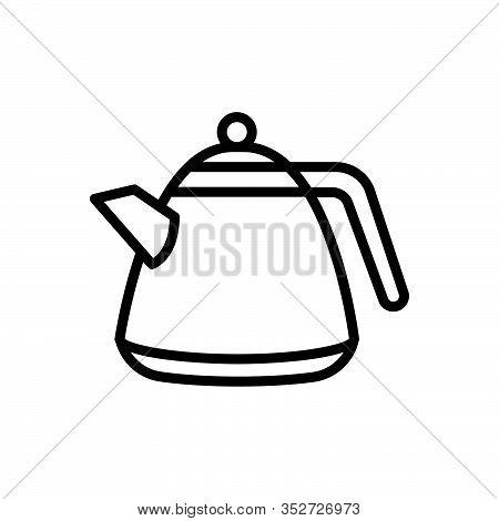 Black Line Icon For Kettle Kettledrum Beverage Teakettle Teapot Whistling Cooking-vessel Pot
