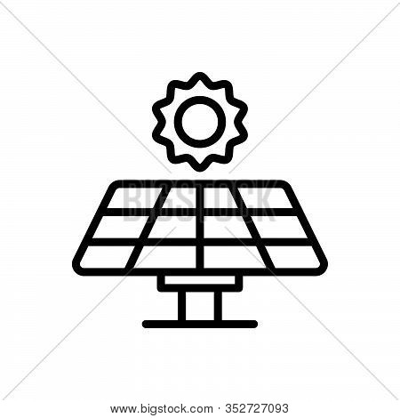 Black Line Icon For Solar-panel Solar Panel Electricity Sunlight Generate Energy Source Generates