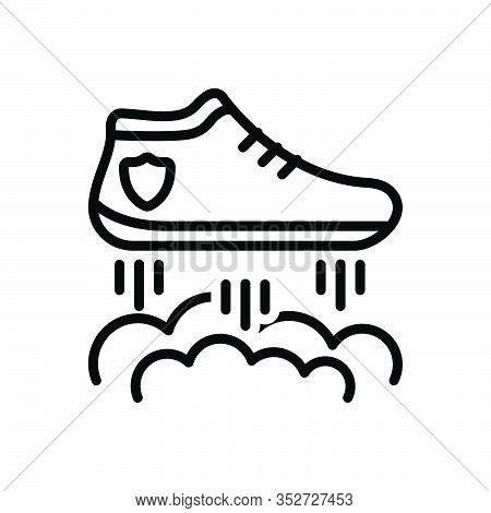Black Line Icon For Flying-shoes Flying Racing Lettering Shoe Boot Footwear Footgear Sneakers Fashio