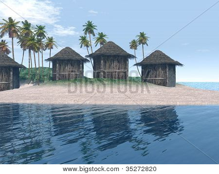 sland Scene with Huts and palm trees