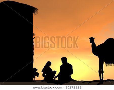 Nativity Scene at Sunset