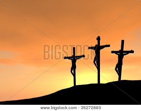 Jesus on the Cross at Sunset