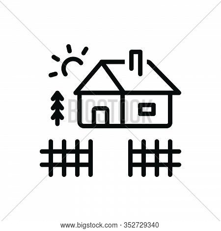 Black Line Icon For Yard Home Cabin Cottage Shack Hovel Arbour Wood Homestead Barton Belongings Earl