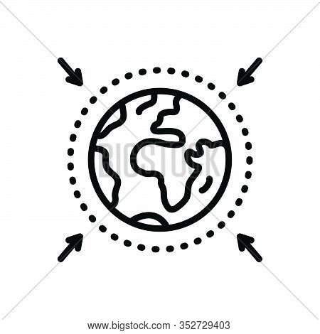 Black Line Icon For Zone Area Sector Region Scope Realm Locality Glob Earth