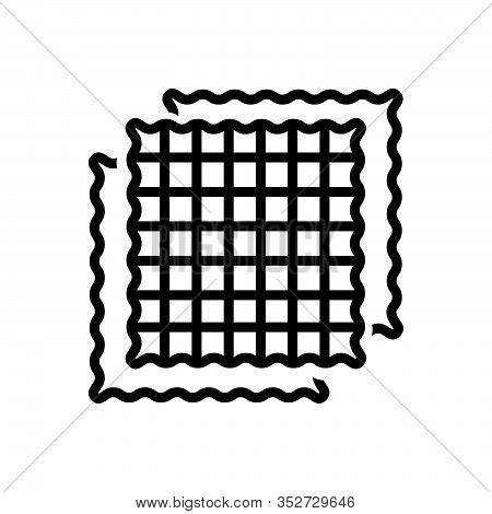 Black Line Icon For Fabric Cloth Textile Cloths Weft Raiment Costume Attire Texture Structure