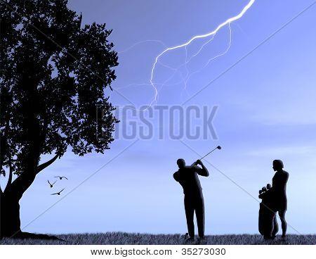 Men Playing Golf in a Lightning Storm
