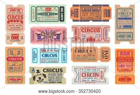 Circus Carnival Show Vector Retro Tickets. Admission Coupons Of Carnival Amusement Show. Isolated En
