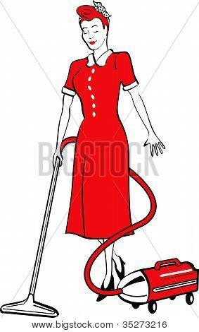 Housekeeping Maid With Vacuum