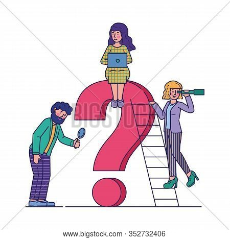 Business People Asking Questions Flat Vector Illustration. Team Assisting And Looking For Solution A