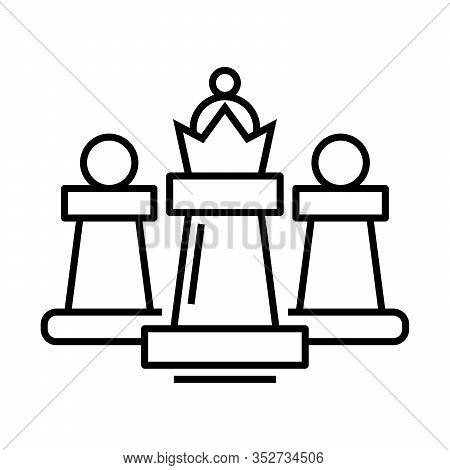 Chess Titan Line Icon, Concept Sign, Outline Vector Illustration, Linear Symbol.