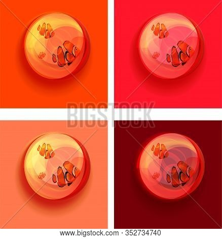 Sea Fish In A Glass Transparent Bowl. Examples On Various Colored Backgrounds, Mysticism