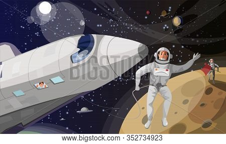 Space Exploration Flat Vector Illustration. Happy Men And Woman In Space Cartoon Characters. Interst
