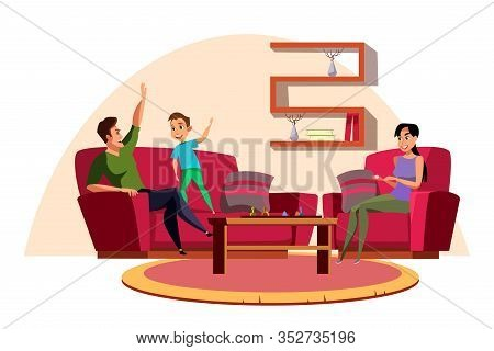 Family Playing Board Game Flat Illustration. Parents With Kid Spending Time Together, Having Fun. Mo