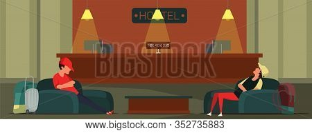 Hotel Check In Flat Vector Illustration. Tourists Sleeping In Armchairs Cartoon Characters. Teenager