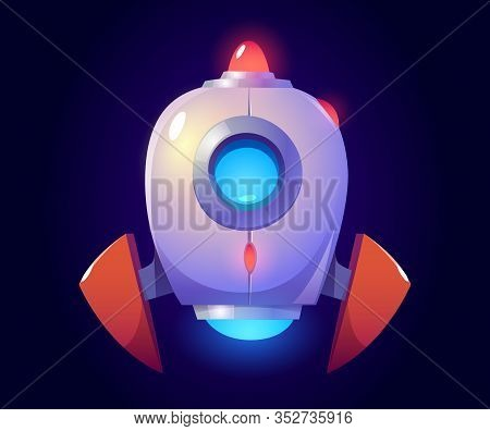Vector Rocket, Glowing Spaceship Isolated On Blue Background. Vector Cartoon Futuristic Design Of Sh