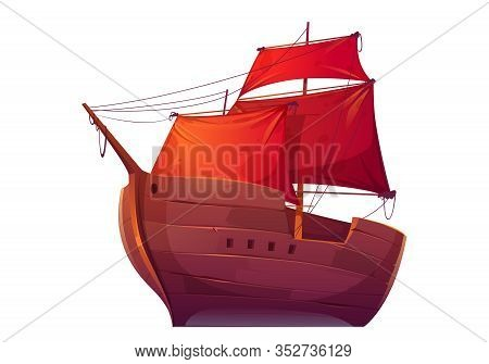Vector Wooden Boat With Red Sails. Pirate Merchant Ship With Blank Scarlet Canvas. Cartoon Old Woode