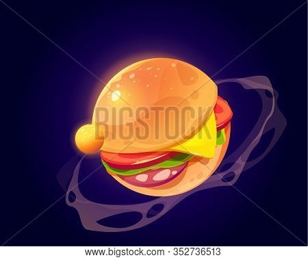 Burger Planet In Outer Space. Vector Cartoon Funny Art Of Food Planet, Sphere With Hamburger Texture