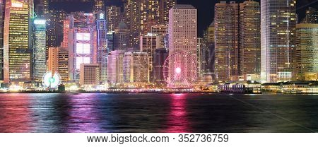 HONG KONG, CHINA - CIRCA JANUARY, 2019: Central District as seen from Victoria Harbour at night.