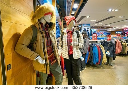 HONG KONG, CHINA - JANUARY 23, 2019: interior shot of Columbia Sportswear retail store at New Town Plaza shopping mall in Sha Tin.