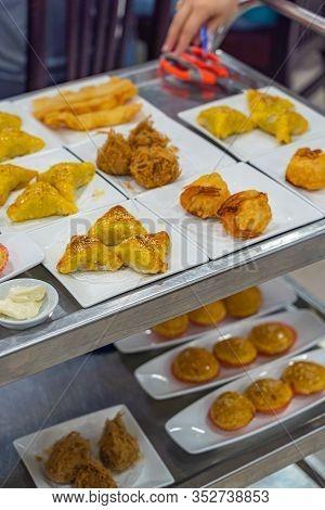 Deep-fried Wonton And Shrimp Ball In Hong Kong Dimsum Restaurant