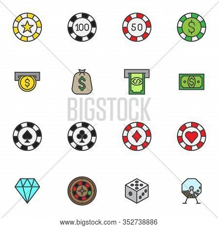 Casino Money Filled Outline Icons Set, Line Vector Symbol Collection, Gambling Chips Linear Colorful