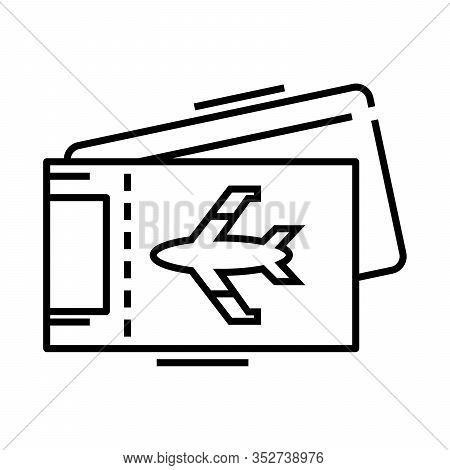 Aero Tickets Line Icon, Concept Sign, Outline Vector Illustration, Linear Symbol.