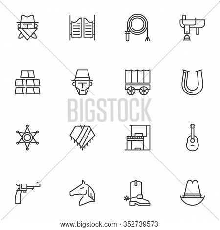Western Cowboy Line Icons Set. Linear Style Symbols Collection, Wild West Outline Signs Pack. Vector