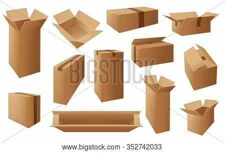 Cardboard Or Carton Boxes, Package Vector Isolated Objects. Delivery Open And Closed Mail Parcels, S